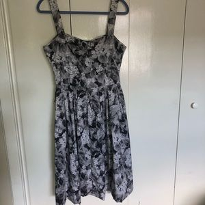 Talbots Grey and Black Floral Dress